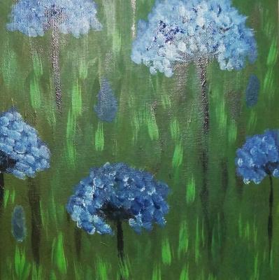 Polina Alekseevna Alexandrova. Blue flowers miniature