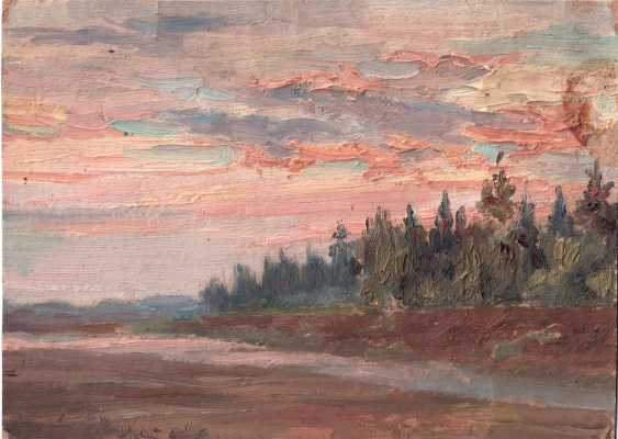 Arkady Pavlovich Laptev. Sunset over the forest