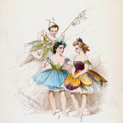"""Adolf Iosifovich Charlemagne. A sketch of the female costume for the ballet M. I. Petipa's """"ice Queen"""""""