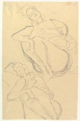Густав Климт. Два наброска присевших женщин