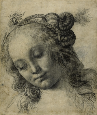 Андреа дель Вероккьо. The head of a girl. Sketch