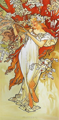 Savely Kamsky. Copy of the picture of Alfons Mucha Spring. Episode Seasons
