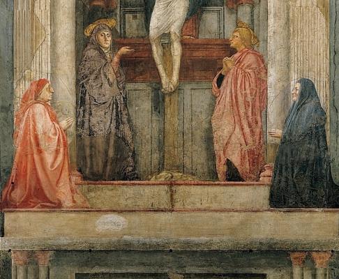 Tommaso Masaccio. The Holy Trinity. Fragment. Donator and saints