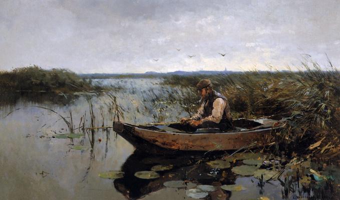 Корнелис Вриденбург. Рыбак у берега канала