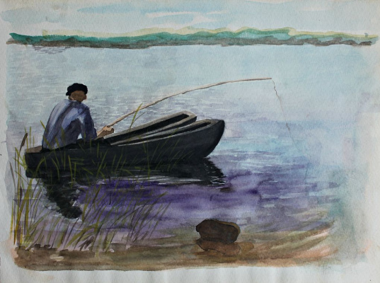 Nikolay Nikolaevich Popov. Fisherman in a boat