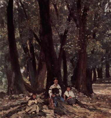 Giovanni Fattori. The peasants in the woods