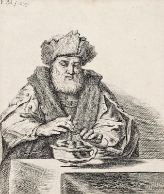 Фердинанд Балтасарс Боль. Мужчина в шапке за столом