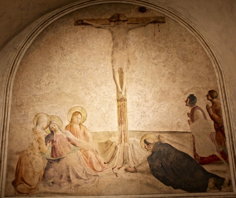 Fra Beato Angelico. Crucifixion of Christ with Mary, St. Dominic and Centurions. Fresco of the Monastery of San Marco, Florence