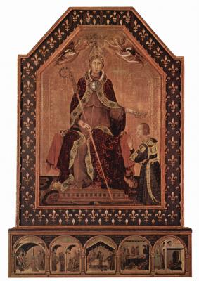 Симоне Мартини. Св. Людовик Тулузский возводит своего брата Роберта Анжуйского в сан короля Неаполитанского, пределла. Сцены из жития святого