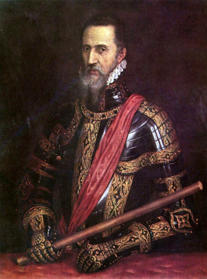 Titian Vecelli. Portrait of a man in armor. Don Fernando Alvarez of Toledo, Duke of Alba