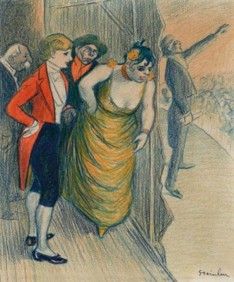 Theophile-Alexander Steinlen. Behind the scenes of the concert in the cafe