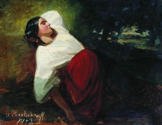 Nikolay Egorovich Sverchkov. The sleeping girl. 1853 Sketch