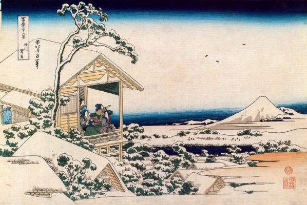 Кацусика Хокусай. Чайный дом в Коисикава, утром после снегопада
