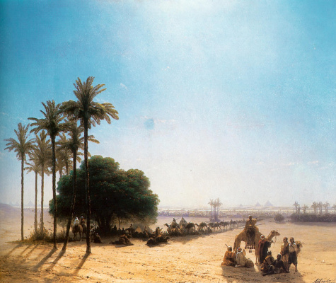 Ivan Aivazovsky. Caravan in the oasis. Egypt
