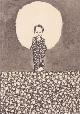Egon Schiele. A child with a halo on a meadow