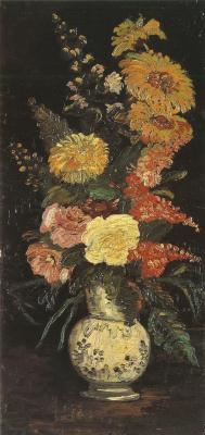 Винсент Ван Гог. Ваза с астрами, сальвиями и другими цветами