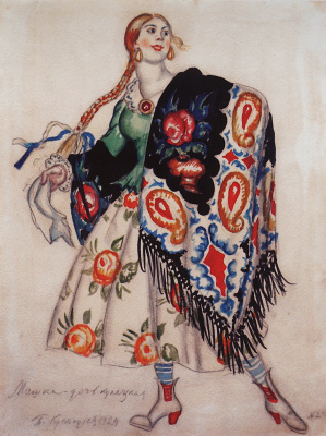 """Boris Mikhailovich Kustodiev. Mashka is the merchant's daughter. Costume design for the production of the play """"Flea"""" by E. I. Zamyatin (after the story """"Lefty"""" by N. S. Leskov)"""