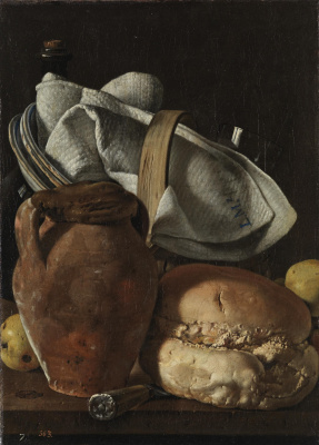 Луис Мелендес. Натюрморт с кувшином, хлебом и корзиной