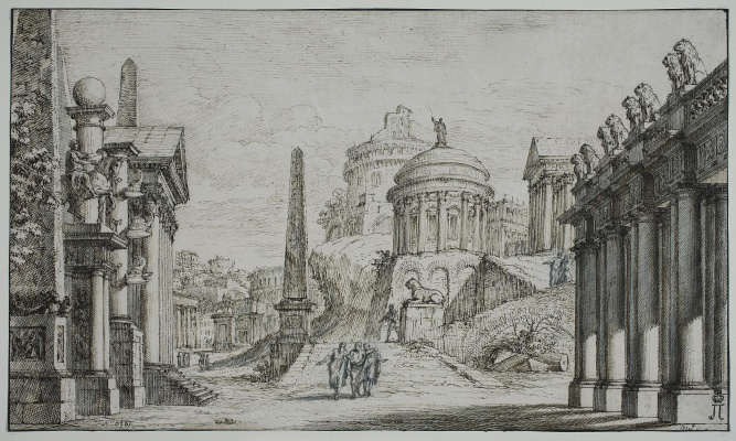 Джузеппе Валериани. Архитектурная композиция с круглым храмом в центре и обелисками в левой части