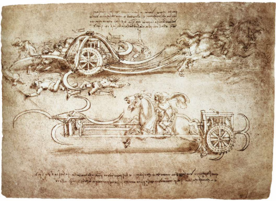 Leonardo da Vinci. Drawing of an assault chariot equipped with scythes