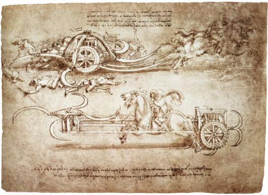Леонардо да Винчи. Рисунок штурмовых колесниц, оснащённых косами