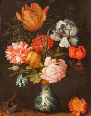 Baltazar van der Ast. Still life with flowers in a vase by van Lee