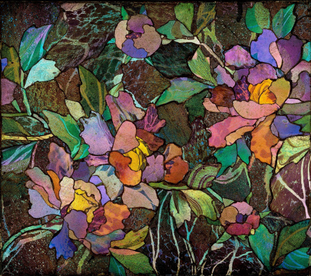Louis Comfort Tiffany. Mosaic panel with peonies