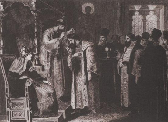 Alexey Danilovich Kivshenko. Tsar Fedor Ivanovich puts a gold chain on Boris Godunov