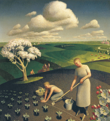 Grant Wood. Spring in the village