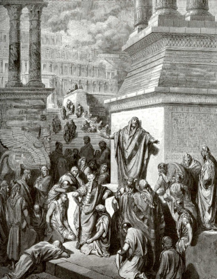 Paul Gustave Dore. Illustration to the Bible: Jonah preaches in the streets of Nineveh