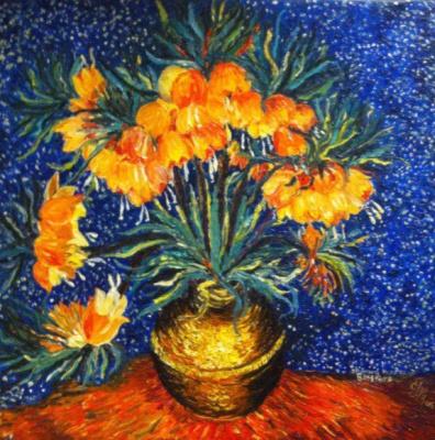 Галина Николаевна Силина. Copy of van Gogh,Flowers in a copper vase,