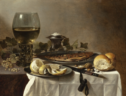 Peter Class. Still life with fish, wine and bread