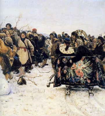 Vasily Ivanovich Surikov. The capture of snow town. Fragment
