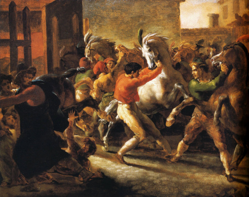 Théodore Géricault. Running free horses in Rome II