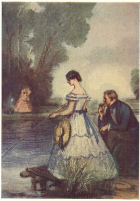 "Konstantin Ivanovich Rudakov. Lisa and Lavretsky at the pond. Illustration for the novel ""a nest of nobles"" by Turgenev"