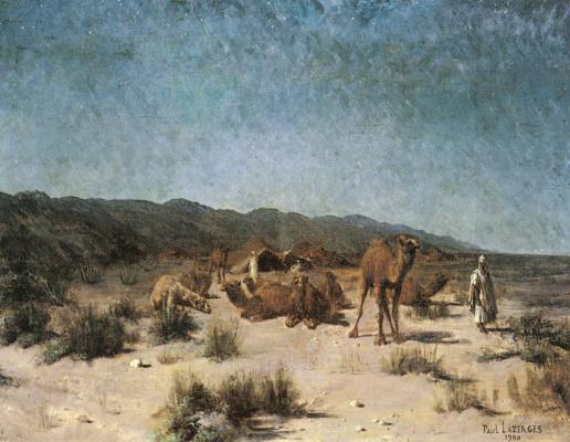 Поль Жан Батист Лазергес. Арабский лагерь под звездным небом