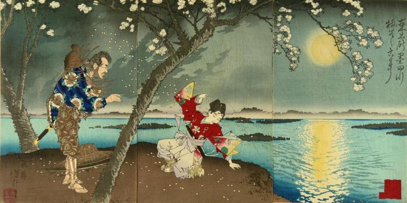 Tsukioka Yoshitoshi. Triptych: a Moonlit evening on the Sumida river