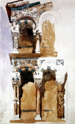 John Ruskin. Part of the facade of San Michele, Lucca