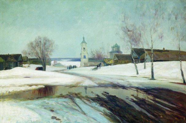 Manuil Khristoforovich Aladzhalov Russia 1862 - 1934. Spring in the village.