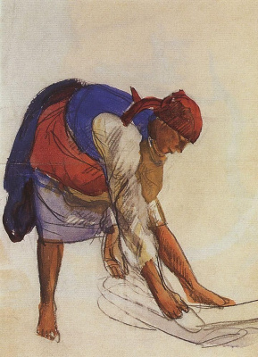 "Zinaida Serebryakova. A farmer, ristiluoma canvas. Sketch for the first (unfinished) version of the painting ""the bleaching of the canvas"""