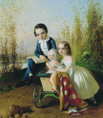 Portrait of the Olsufievs children. Kunsthistorisches Museum A.V. Grigoryeva, Kozmodemyansk, Republic of Mari El.