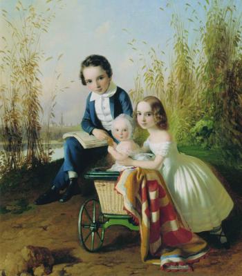 Timofey Andreevich Neff. Portrait of the Olsufievs children. Kunsthistorisches Museum A.V. Grigoryeva, Kozmodemyansk, Republic of Mari El.