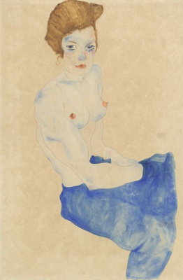 Egon Schiele. Seated woman in a blue skirt with bare torso