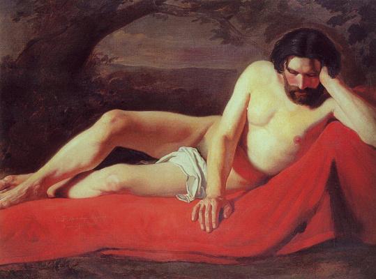 Konstantin Makovsky. Lying sitter