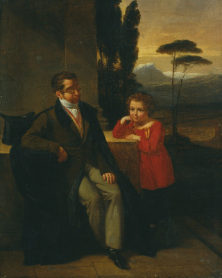 Petr Vasilyevich Basin. Portrait of Count C. V. Nesselrode with his son Dmitry. 1823