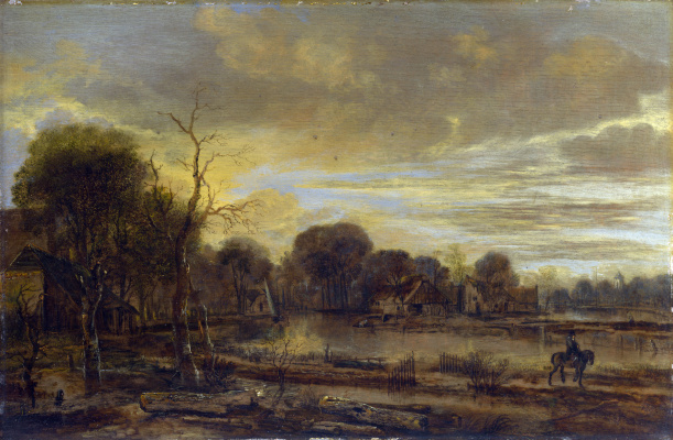 Art van der Ner. River landscape with village