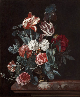 Willem van Aelst. Still life with flowers in a vase