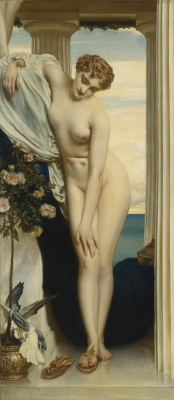 Frederic Leighton. Venus strips before bathing