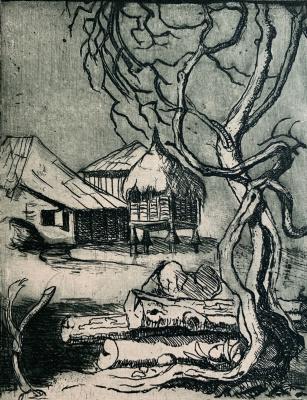 Oleg Alekseevich Dmitriev. Abkhazian courtyard