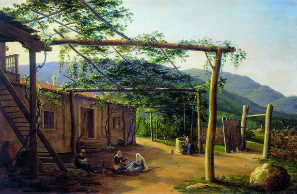 Никанор Григорьевич Чернецов. Татарский дворик в Крыму. 1839